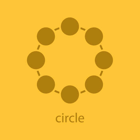 science symbols metaphors: Circle symbol glyph color icon. Silhouette symbol. Community concept. Negative space. Vector isolated illustration