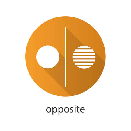 reverse: Opposite symbol flat design long shadow glyph icon. Opponents abstract metaphor. Vector silhouette illustration
