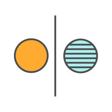 Opposite symbol color icon. Opponents abstract metaphor. Isolated vector illustration Çizim