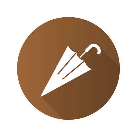 gamp: Umbrella flat design long shadow glyph icon. Vector silhouette illustration