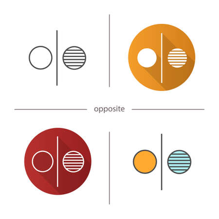 Opposite symbol icon. Flat design, linear and color styles. Opponents abstract metaphor. Isolated vector illustrations Stok Fotoğraf - 81783185