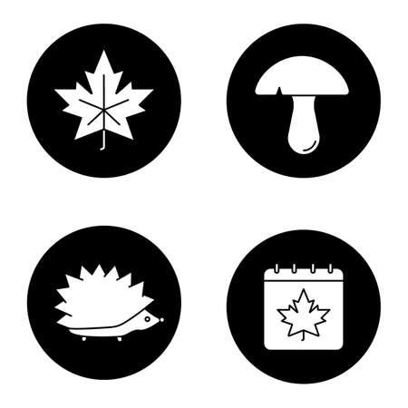 mycology: Autumn season glyph icons set. Maple leaf, mushroom, hedgehog, autumn calendar. Vector white silhouettes illustrations in black circles