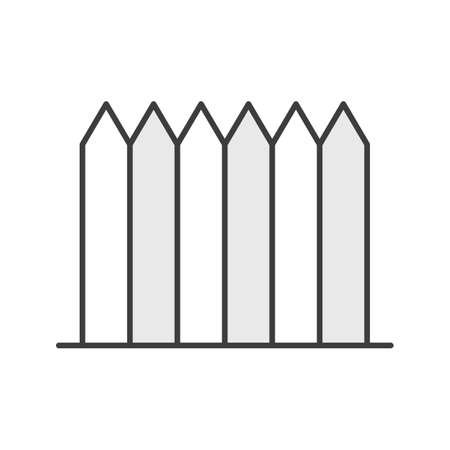 palisade: Wooden fence color icon. Picket. Isolated vector illustration