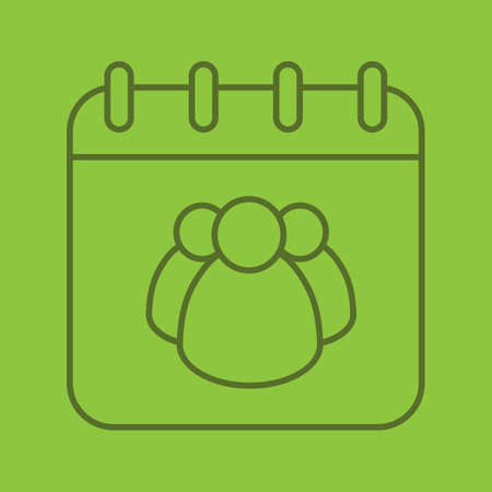 Group calendar linear icon. Team work schedule. Calendar page with group of people. Thin line outline symbols on color background. Vector illustration Illustration
