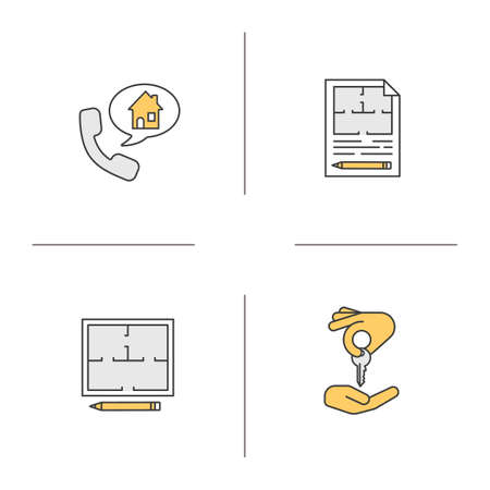 homebuyer: Real estate color icons set. Floor plans, phone rental house reserve, hand giving key to another hand. Isolated vector illustrations Illustration