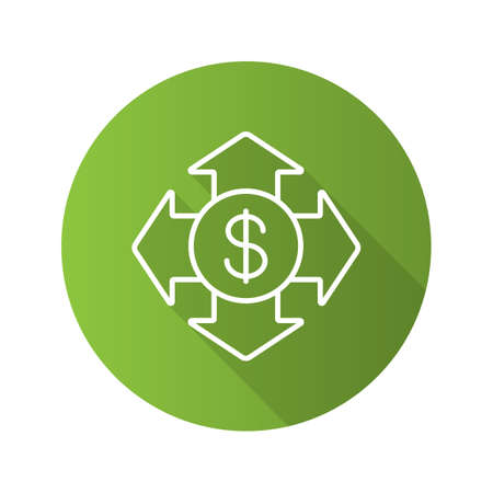Money spending flat linear long shadow icon. USA dollar with all direction arrows. Vector outline symbol