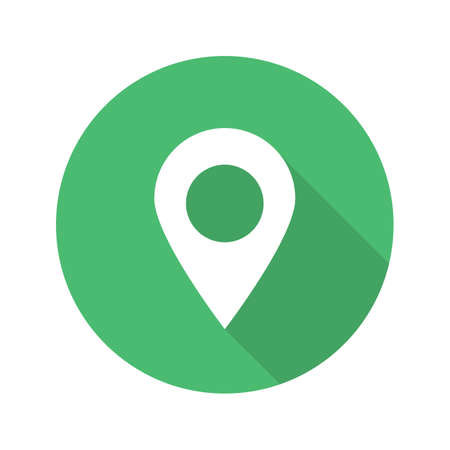 map pin: Pinpoint flat design long shadow glyph icon. Geo location mark. Vector silhouette illustration