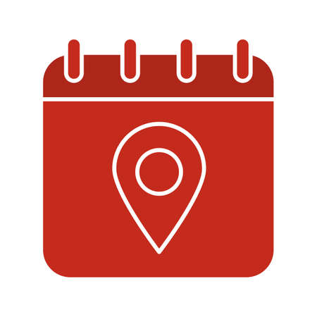 geolocation: Calendar page with map pinpoint glyph color icon. Silhouette symbol on white background. Negative space. Vector illustration