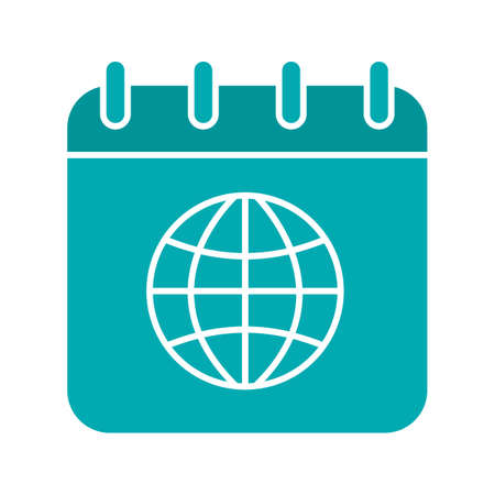 International calendar glyph color icon. Calendar page with worldwide globe model. Silhouette symbol on white background. Negative space. Vector illustration
