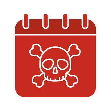 Deadline glyph color icon. Calendar page with skull and crossbones. Silhouette symbol on white background. Negative space. Vector illustration