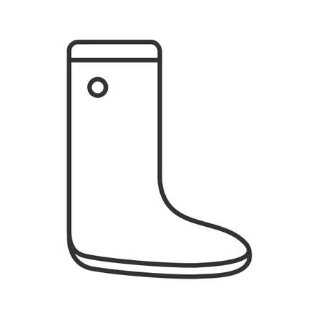 Watertight linear icon. Wellington boot. Gumboot. Rubber boot contour symbol. Autumn shoes thin line illustration. Vector isolated outline drawing Ilustrace