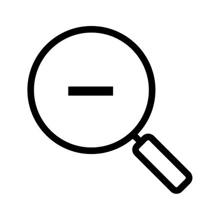 Zoom out linear icon. Thin line illustration. Magnifying glass with minus sign. Contour symbol. Vector isolated outline drawing