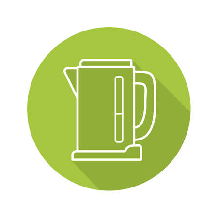 Electric kettle flat linear long shadow icon. Vector outline symbol Illustration