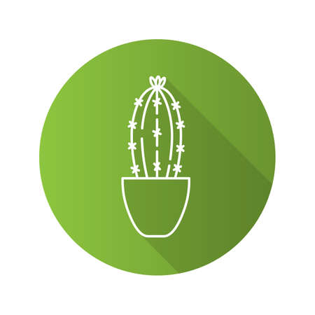 Cactus in flowerpot flat linear long shadow icon. Succulent. Vector outline symbol