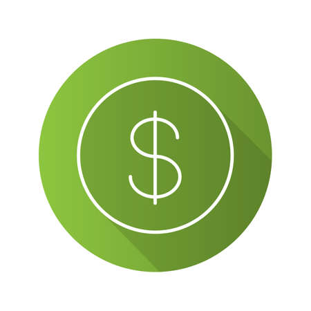 Dollar flat linear long shadow icon. USA national currency. Vector outline symbol Illustration