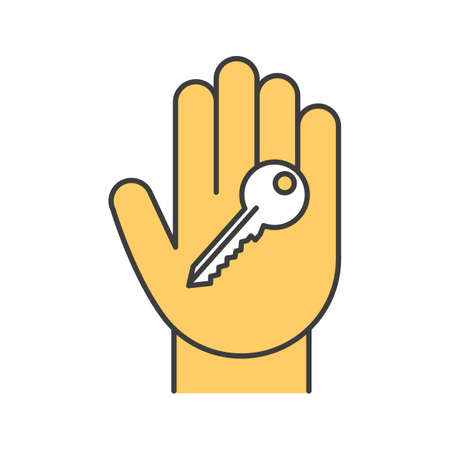 Hand with key color icon. Realty purchase. Private property owner. Isolated vector illustration Illustration