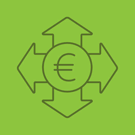 Money spending color linear icon. Euro currency with all direction arrows. Expanses. Thin line outline symbols on color background. Vector illustration Illustration
