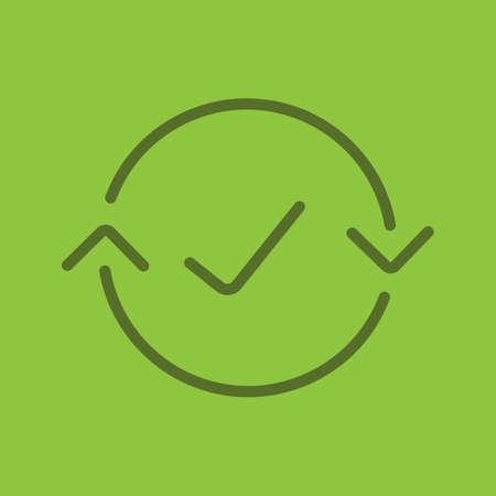 Money exchange complete color linear icon. Refund. Thin line outline symbols on color background. Vector illustration Illustration