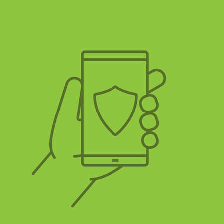 Hand holding smartphone linear icon. Smart phone antivirus app. Thin line outline symbols on color background. Vector illustration