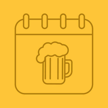 oktober: Oktoberfest date linear icon. Calendar page with beer glass. Thin line outline symbols on color background. Vector illustration