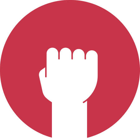 Raised fist glyph color icon. Clenched hand gesture. Silhouette symbol on red background. Negative space. Vector illustration Ilustracje wektorowe