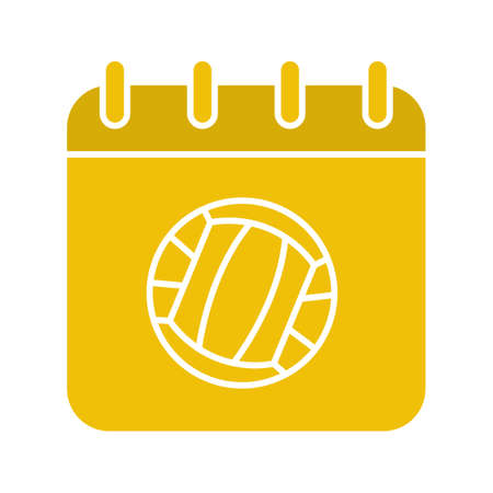 yellow notepad: Volleyball championship date glyph color icon. Calendar page with volleyball ball. Silhouette symbol on white background. Negative space. Vector illustration Illustration
