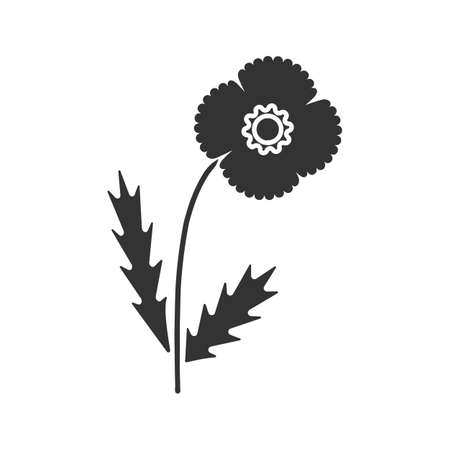 Poppy flower glyph icon. Silhouette symbol. Negative space. Vector isolated illustration