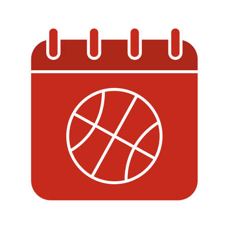 Basketball championship date glyph color icon. Calendar page with basketball ball. Silhouette symbol on white background. Negative space. Vector illustration