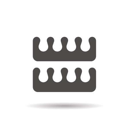 Icône de glyphe des séparateurs de pied pédicure. Symbole de silhouette ombre portée. Espace négatif. Vector illustration isolée