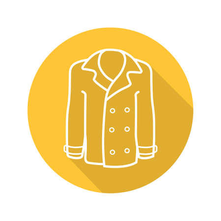 Mens coat flat linear long shadow icon. Jacket. Vector outline symbol