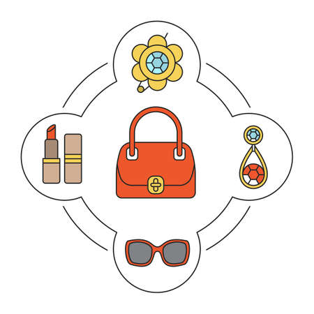 Womans handbag contents color icons set. Brooch, earring, sunglasses, lipstick. Isolated vector illustrations Illustration