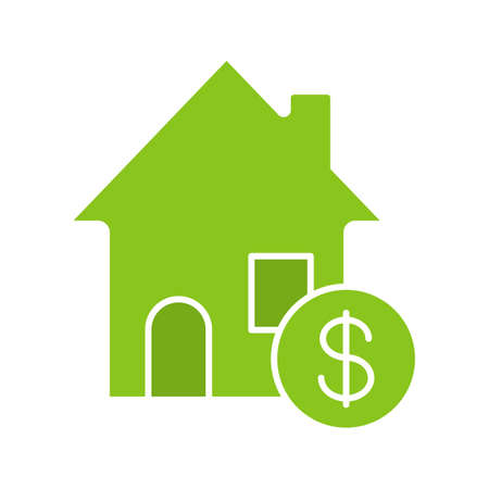 clip art cost: Real estate market glyph color icon. Rental house with dollar sign. Silhouette symbol on white background. Negative space. Vector illustration Illustration
