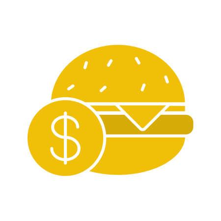 clip art cost: Buy hamburger glyph color icon. Burger price. Silhouette symbol on white background. Negative space. Vector illustration Illustration