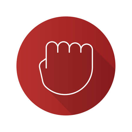 Squeezed fist flat linear long shadow icon. Clenched hand gesture. Vector outline symbol