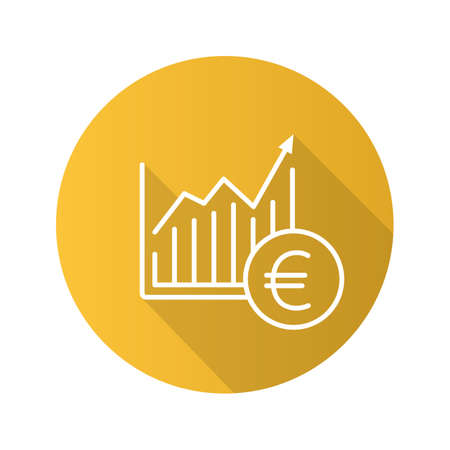 Market growth chart flat linear long shadow icon. Statistics diagram with euro sign. Vector outline symbol Illustration