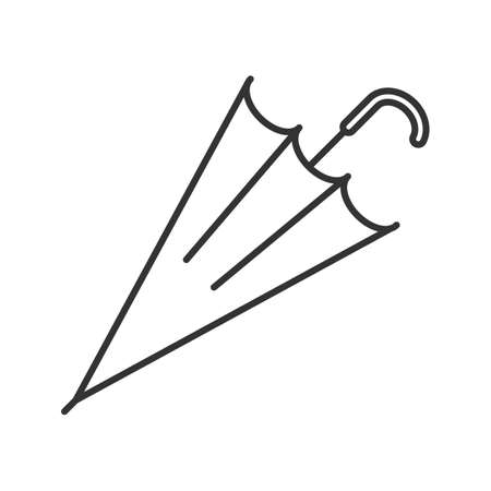 Closed umbrella linear icon. Protection from rain or sun contour symbol. Rain umbrella thin line illustration. Vector isolated outline drawing Illustration