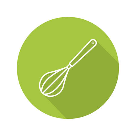 Whisk flat linear long shadow icon. Eggbeater. Vector outline symbol
