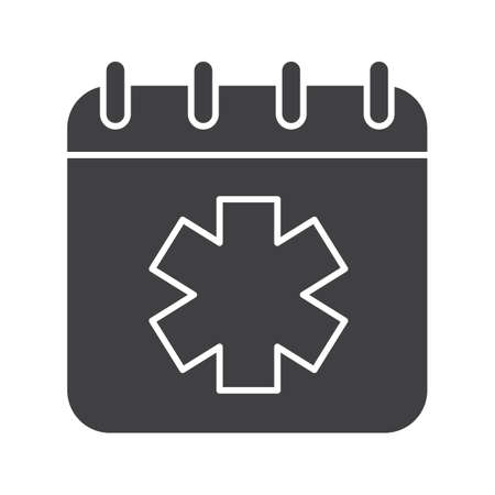 calendar icon: World Ambulance Day glyph icon. Silhouette symbol. Calendar page with star of life. Negative space. Vector isolated illustration Illustration