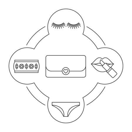 Woman's clutch bag contents linear icons set. False eyelashes, lipstick, panties, gemstone bracelet. Isolated vector illustrations