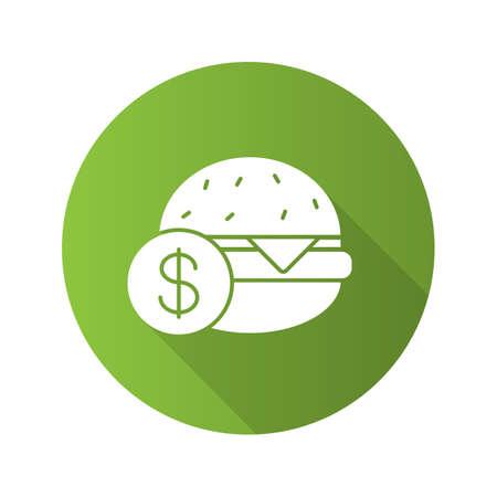 Buy hamburger flat design long shadow glyph icon. Burger price. Vector silhouette illustration