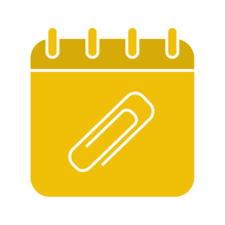 Add file to calendar glyph color icon. Calendar page with paper clip. Silhouette symbol on black background. Negative space. Vector illustration Illustration