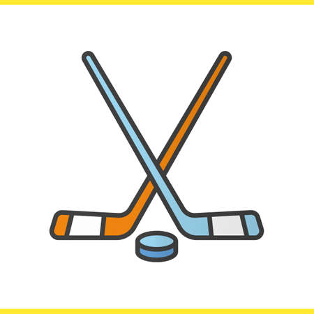 puck: Ice hockey equipment color icon. Crossed hockey sticks and rubber puck. Isolated vector illustration