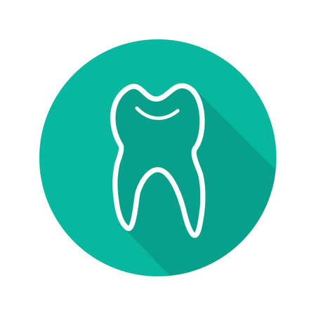 Human tooth flat linear long shadow icon. Stomatology. Vector outline symbol
