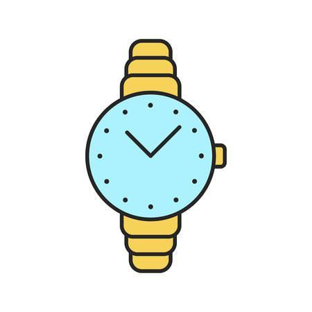Womens wristwatch color icon. Isolated vector illustration Illustration