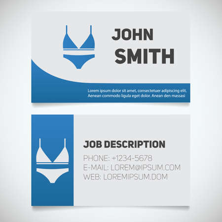 Business Card Print Template With Bra And Panties Logo. Manager ...