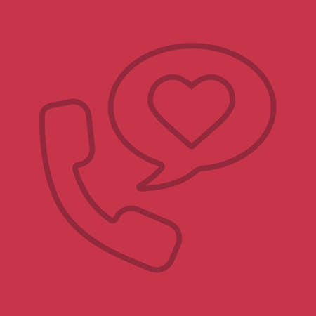 Romantic phone talk color linear icon. Handset with heart inside speech bubble. Thin line outline symbols on color background. Vector illustration