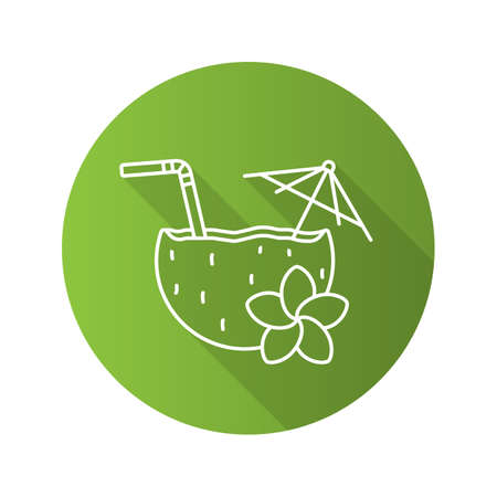 Beach cocktail flat linear long shadow icon. Pina colada cocktail with straw, umbrella and plumeria flower. Vector outline symbol