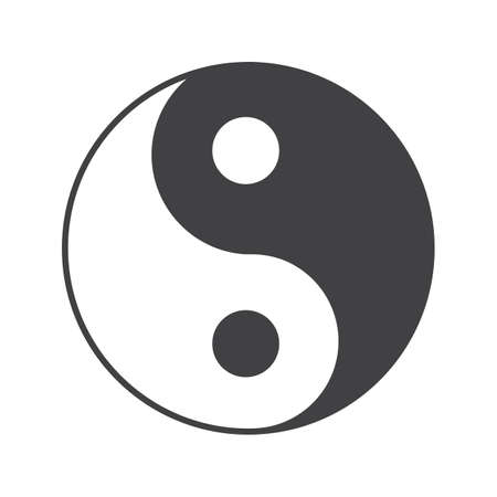 Yin yang glyph icon. Silhouette symbol. Negative space. Vector isolated illustration. Illustration