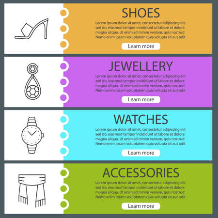 web site design template: Womens accessories web banner templates set. Shoe, earring, watch, scarf. Website color menu items with linear icons. Vector headers design concepts Illustration