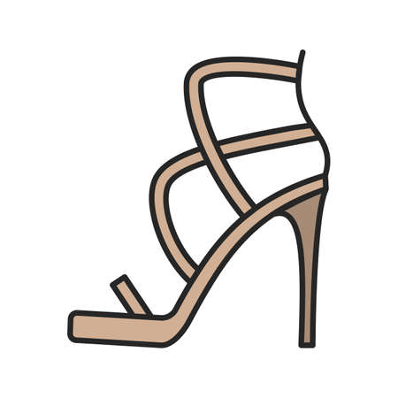 shoe store: High heel shoe color icon. Isolated vector illustration. Illustration